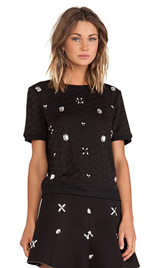 J.O.A. Embellished Knit Top in Black