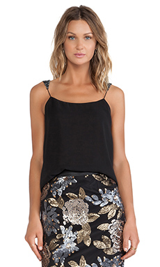 J.O.A. Sequin Strap Cami in Black