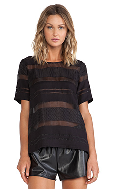 JOA Sheer Striped Short Sleeve Top in Black