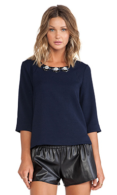 JOA Embellished Cut Out Top in Navy
