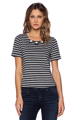 JOA Striped Embellished Top in Charcoal