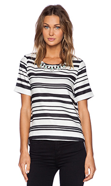 J.O.A. Embellished Striped Top in Black & White
