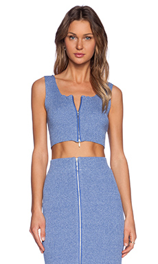 J.O.A. Front Zip Crop Top in Blue Violet