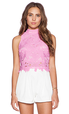 J.O.A. Lace Crop Top in Pink