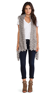 jocelyn Alicia Asymmetrical Rabbit Fur Vest in Cement
