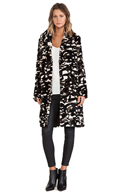 jocelyn Camouflage Shawl Collar Rabbit Fur Coat in Beige Combo