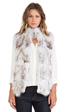 jocelyn Blue Fox Fur Vest in Natural