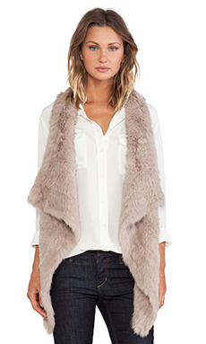 jocelyn Rabbit Fur Knitted Asymmetrical Vest in Mushroom