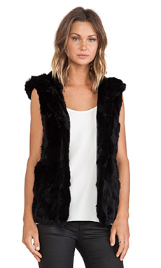 jocelyn Rabbit Fur Hooded Vest in Black