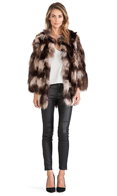 jocelyn Silver Fox Fur Collarless Jacket in Brown Tie Dye