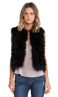 jocelyn Dyed Marabou Feather Vest in Black