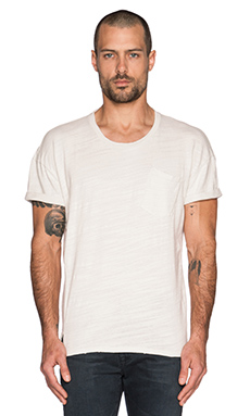 Joe's Jeans Arrie Crew Notch Tee Solid Slub Jersey in Vintage White