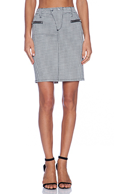 Joe's Jeans Zip Moto Pencil Skirt in Black & White Houndstooth
