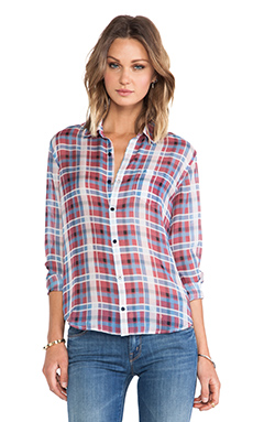Joe's Jeans Single Pocket Shirt in Red/Blue Plaid