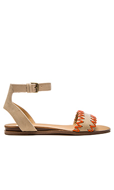 Joe's Jeans Reba Sandal in White & Papaya