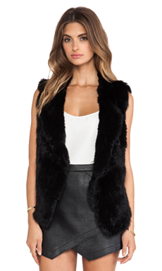 Joie Andoni Rabbit Fur Vest in Caviar
