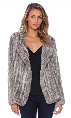 Joie Aviana Rabbit Fur Coat in Grey Natural
