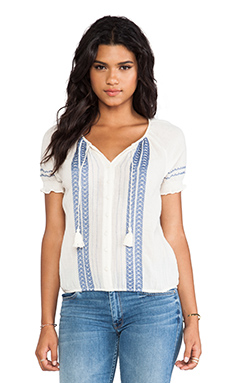 Joie Dolina C Embroidered Crepe Blouse in Porcelain & Sea Blue