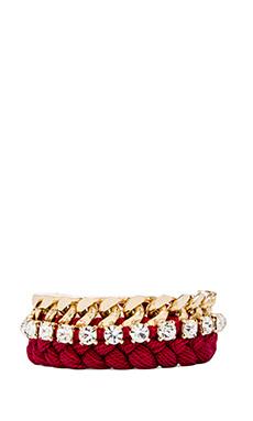 joolz by Martha Calvo Large Kim Bracelet in Gold & Burgundy & Clear Swarovski
