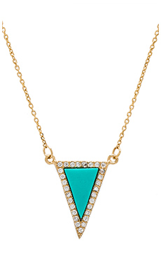 joolz by Martha Calvo Turquoise Triangle Necklace in Gold & Turquoise