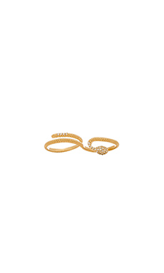 joolz by Martha Calvo Double CZ Snake Ring in Gold