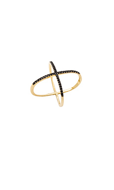 joolz by Martha Calvo CZ X RING in Black & Gold