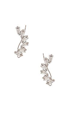 joolz by Martha Calvo Deco Rhinestone Ear Crawler in Silver