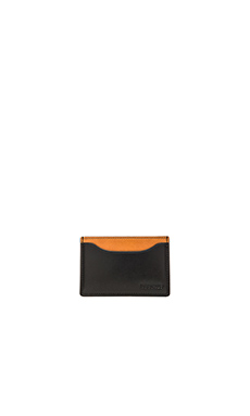 Jack Spade Mitchell Leather Credit Card Holder in Black Saddle