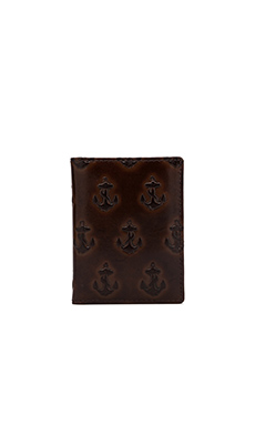 Jack Spade Embossed Anchor Vertical Card Holder in Chocolate/Yellow Multi