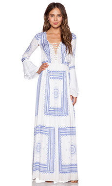 THE JETSET DIARIES Santorini Maxi Dress in Scarf Print