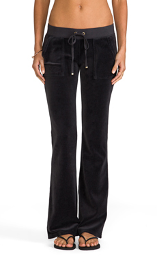 Juicy Couture Velour Bootcut Pant with Snap Pockets in Top Hat