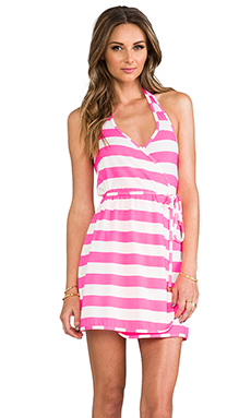 Juicy Couture Sixties Stripe Wrap Cover Up Dress in Shell Shock