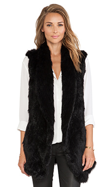 June Knitted Rabbit Fur Vest in Black