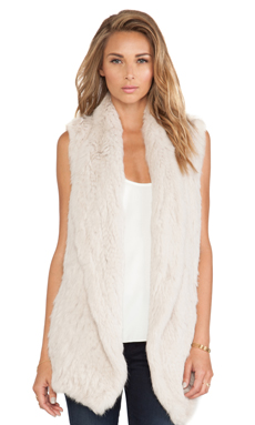 June Knitted Rabbit Fur Vest in Putty