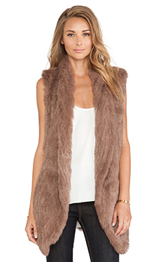 June Knitted Rabbit Fur Vest in Toffee