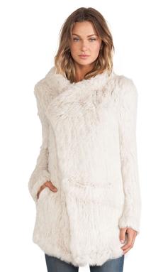 June Oversized Rabbit Fur Jacket in Putty
