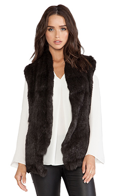 June Semi Long Hair Knitted Rabbit Fur Vest in Dark Olive