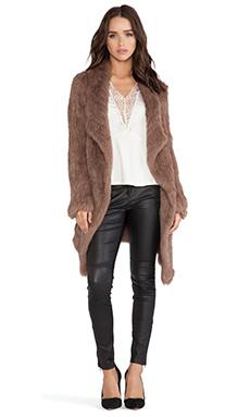 June Oversized Rabbit Fur Jacket in Toffee