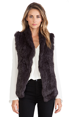 June Semi Long Hair Rabbit Fur Vest in Espresso