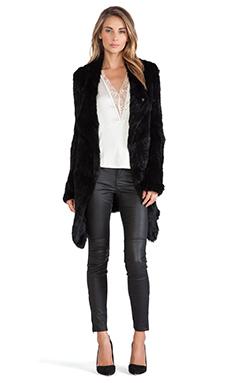 June Oversized Rabbit Fur Jacket in Black