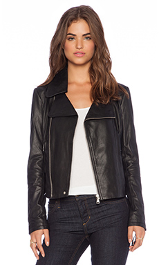 June Cropped Leather Moto Jacket in Black