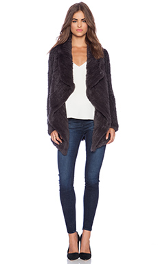 June Sheared Rabbit Fur Full Coat in Grey