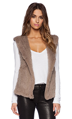 June Sheered Rabbit Fur Vest in Dust