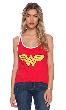 Junk Food Wonder Woman Tank in Licorice & Electric White