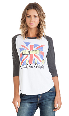 Junk Food The Who Raglan in Electric White & Pepper