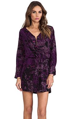 Karina Grimaldi Purple Silk Purple Granite Print Miranda Mini Dress in Purple Granite