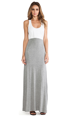 Karina Grimaldi Madison Knit & Leather Maxi Dress in Grey