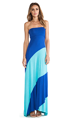 Karina Grimaldi Strapless Bias Maxi Dress in Aqua Combo