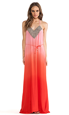 Karina Grimaldi Nassarena Beaded Maxi Dress in Coral Ombre
