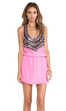 Karina Grimaldi Zelda Beaded Mini Dress in Mexican Pink